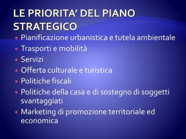 LE PRIORITA' DEL PIANO STRATEGICO