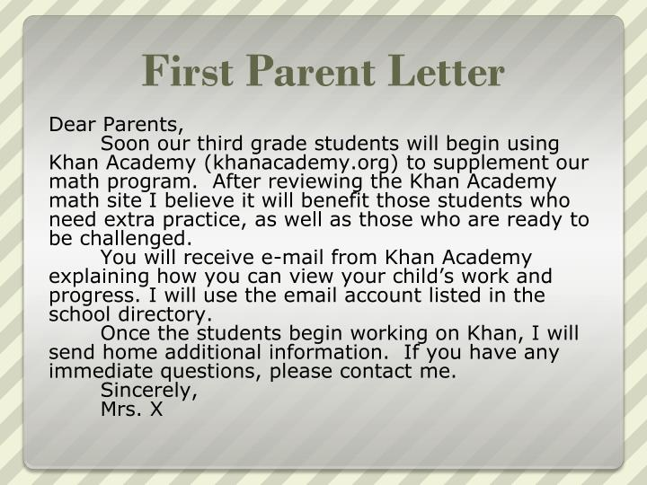 First Parent Letter