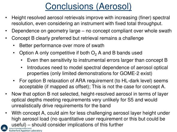 Conclusions (Aerosol)