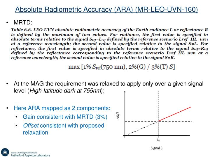 Absolute Radiometric Accuracy (ARA) (MR-LEO-UVN-160)