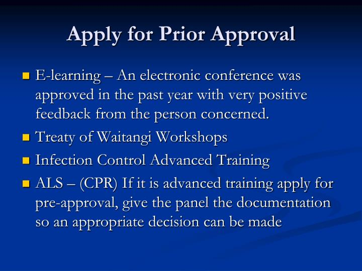 Apply for Prior Approval