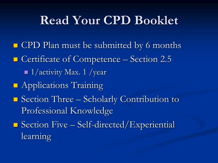 Read Your CPD Booklet
