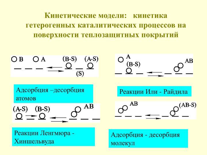 Кинетические модели:   кинетика гетерогенных каталитических процессов на поверхности теплозащитных покрытий