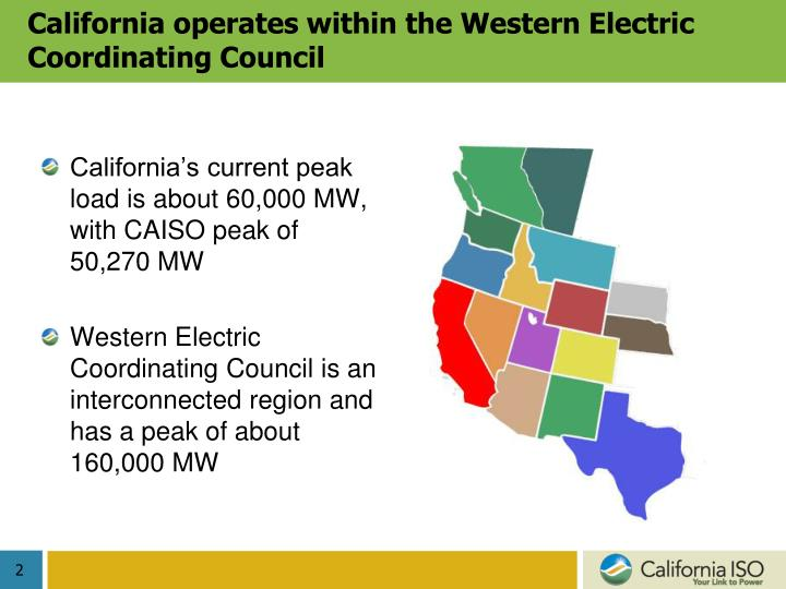 California operates within the western electric coordinating council