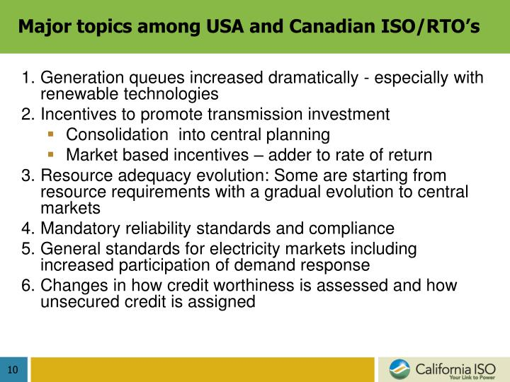 Major topics among USA and Canadian ISO/RTO's