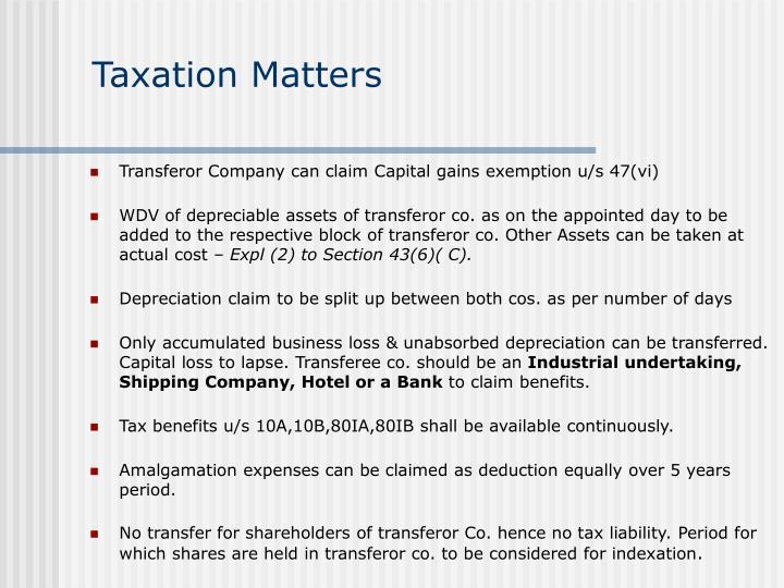 Taxation Matters