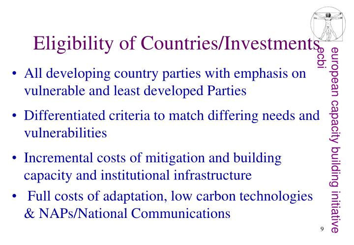 Eligibility of Countries/Investments
