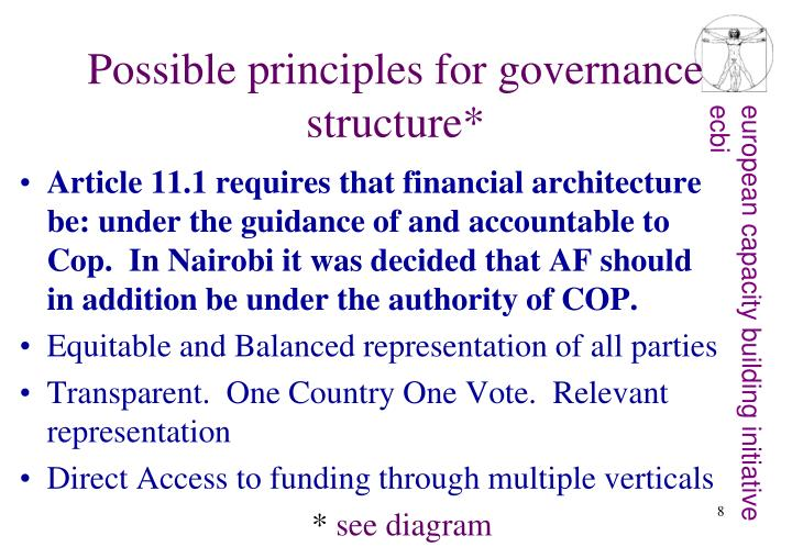 Possible principles for governance structure*