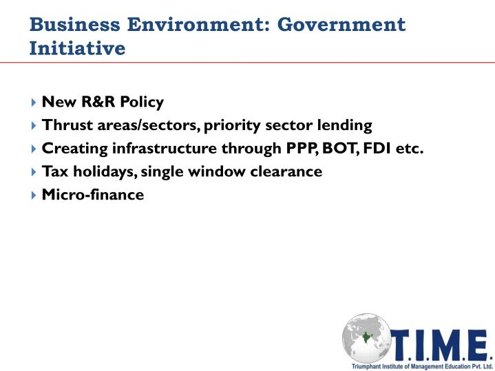 Business Environment: Government Initiative