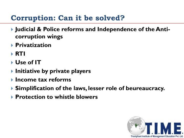 Corruption: Can it be solved?