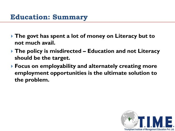 Education: Summary