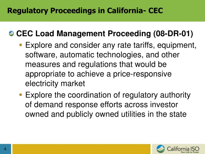Regulatory Proceedings in California- CEC