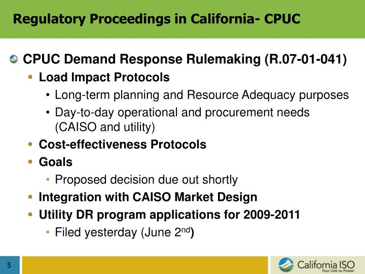 Regulatory Proceedings in California- CPUC