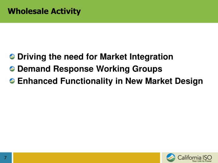 Wholesale Activity