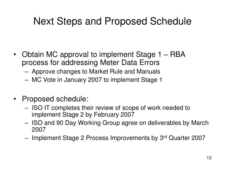 Next Steps and Proposed Schedule