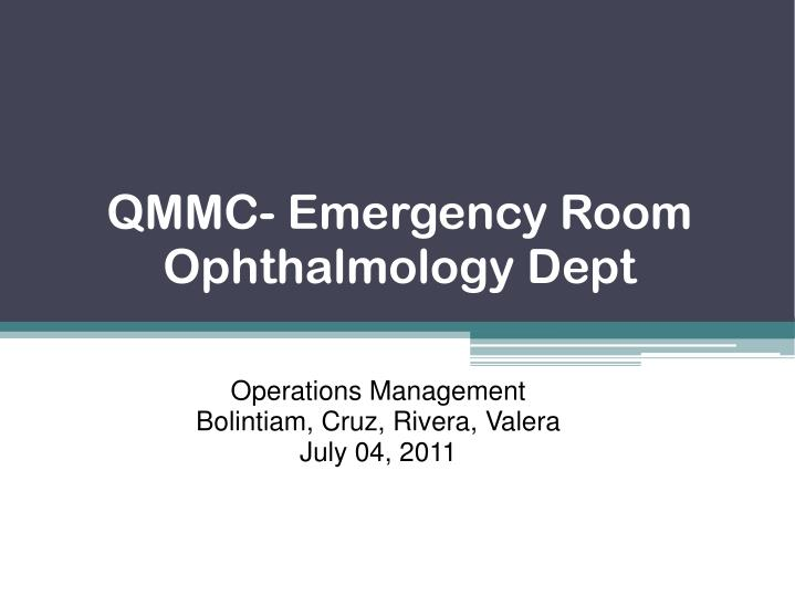 Qmmc emergency room ophthalmology dept