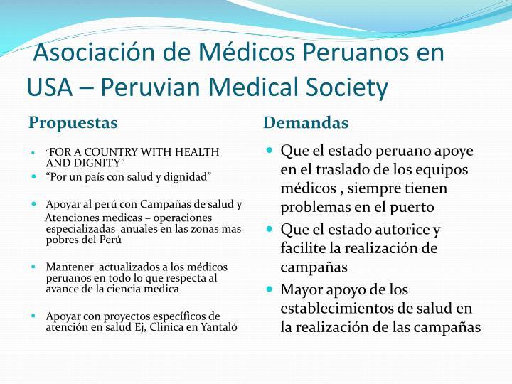 Asociación de Médicos Peruanos en USA –