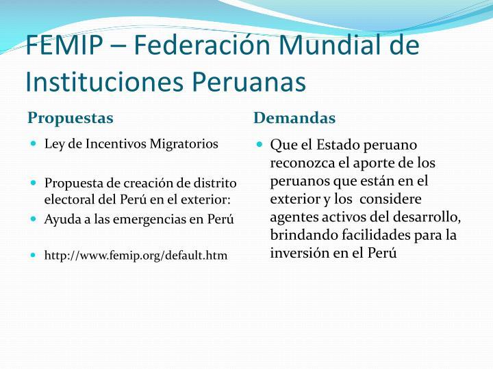 FEMIP – Federación Mundial de Instituciones Peruanas