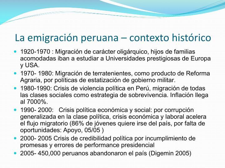 La emigración peruana – contexto histórico