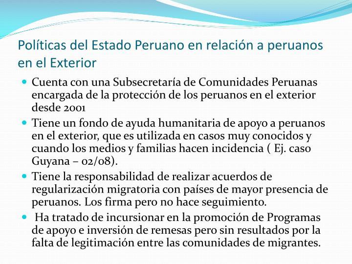 Políticas del Estado Peruano en relación a peruanos en el Exterior