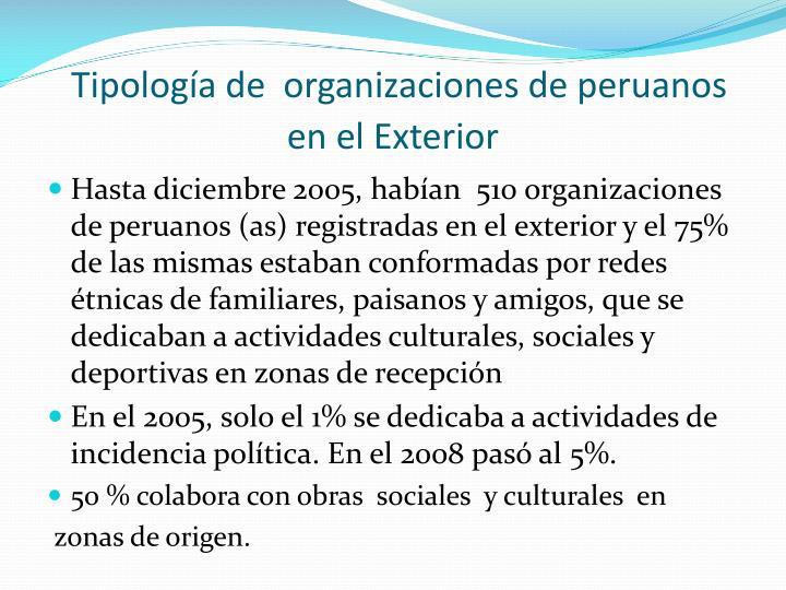Tipología de  organizaciones de peruanos