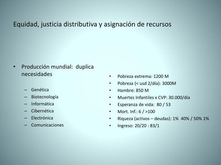 Equidad, justicia distributiva y asignación de recursos