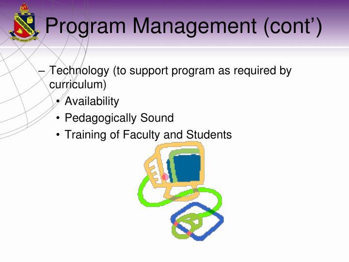 Program Management (cont