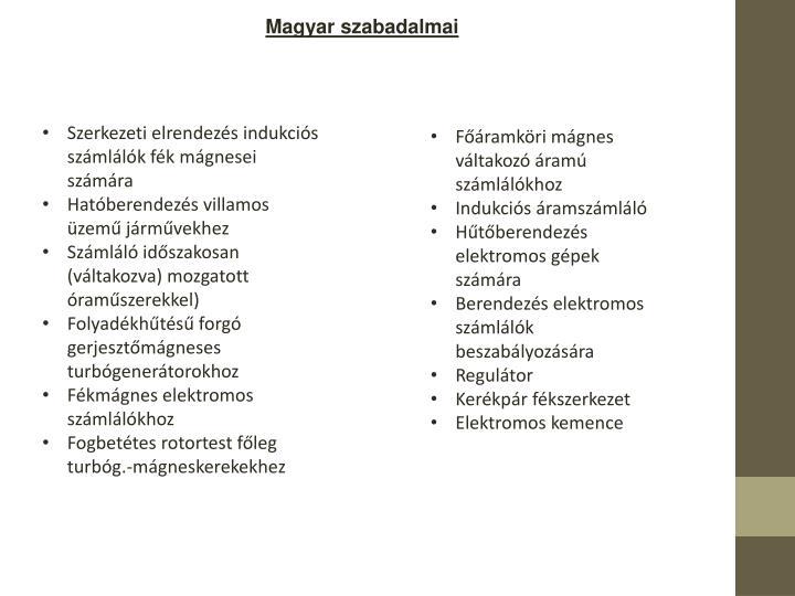 Magyar szabadalmai