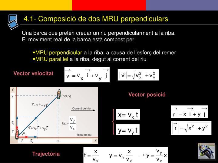 4.1- Composició de dos MRU perpendiculars