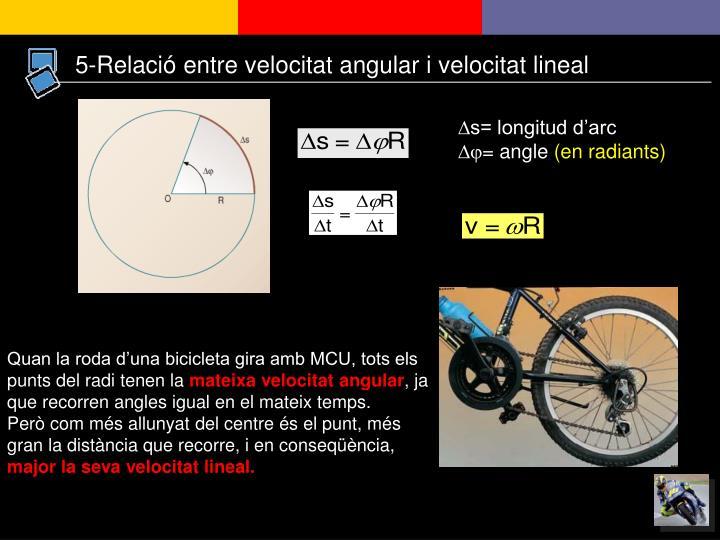 5-Relació entre velocitat angular i velocitat lineal