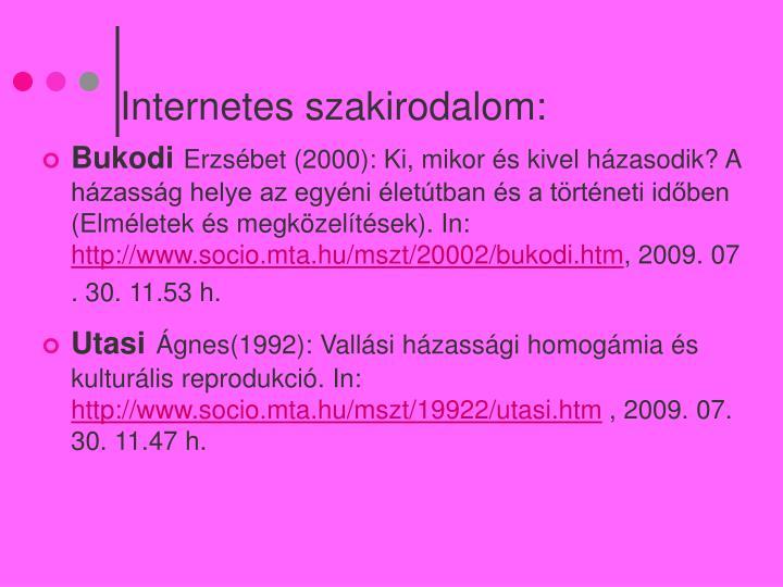 Internetes szakirodalom: