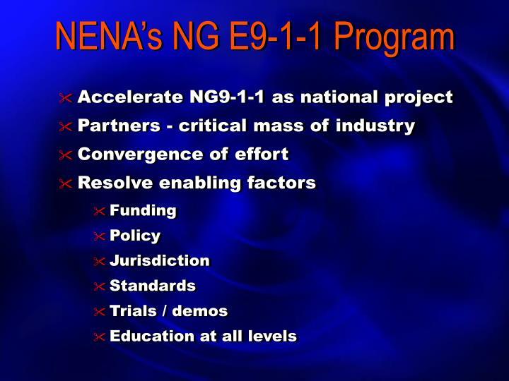 NENA's NG E9-1-1 Program
