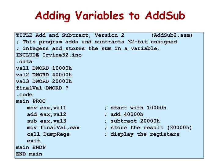 Adding Variables to AddSub