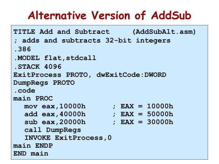 Alternative Version of AddSub
