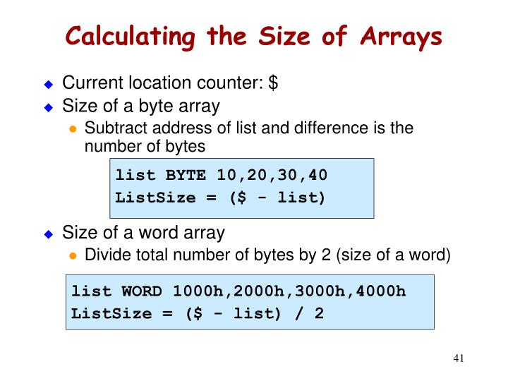 Calculating the Size of Arrays