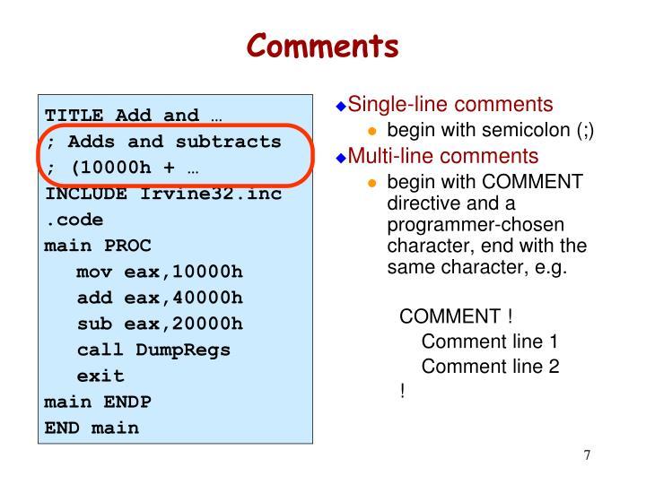 Single-line comments