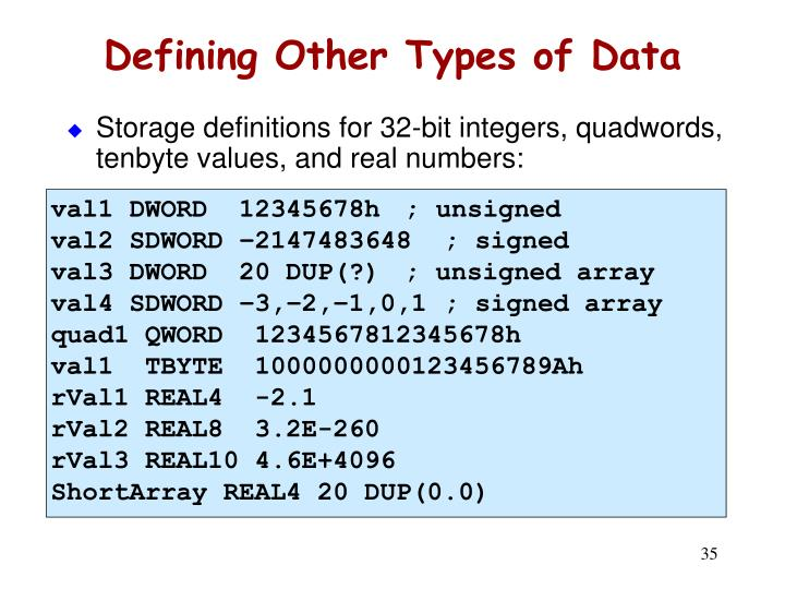 Defining Other Types of Data