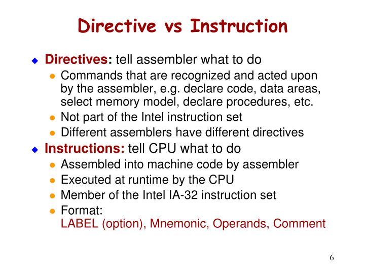 Directive vs Instruction