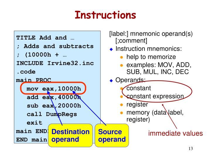 [label:] mnemonic operand(s) [;comment]