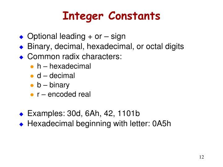 Integer Constants