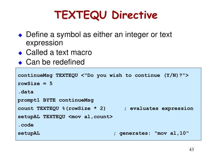 TEXTEQU Directive