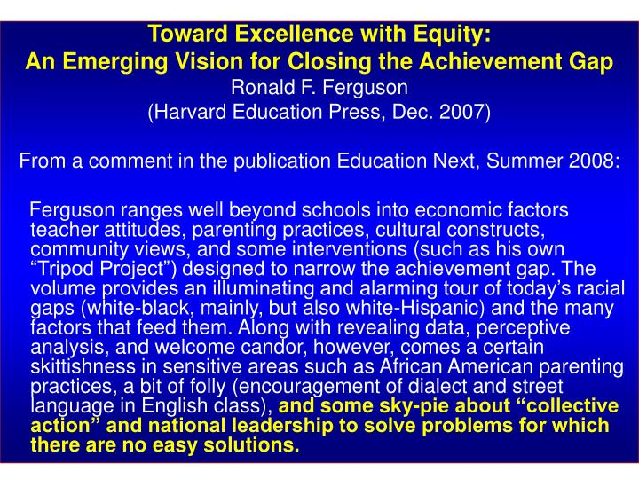 Toward Excellence with Equity: