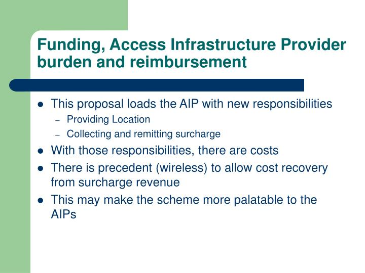 Funding, Access Infrastructure Provider burden and reimbursement