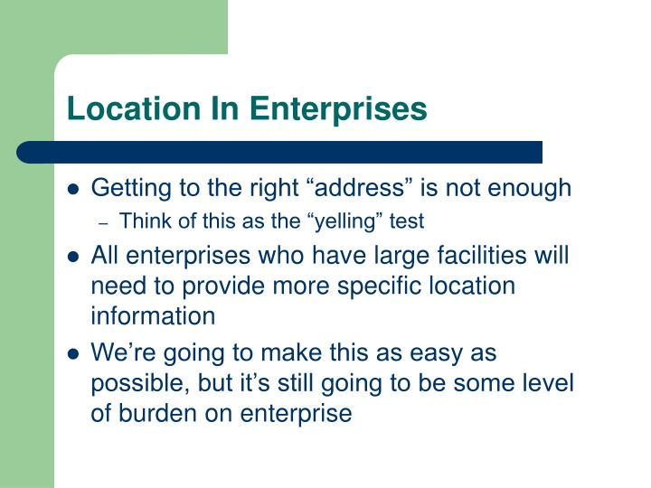 Location In Enterprises