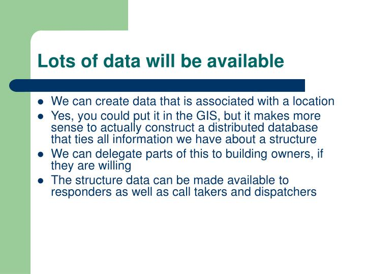 Lots of data will be available