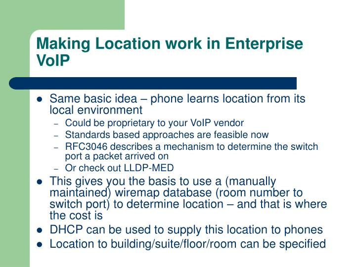 Making Location work in Enterprise VoIP