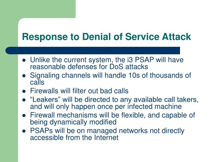 Response to Denial of Service Attack