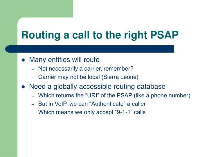 Routing a call to the right PSAP