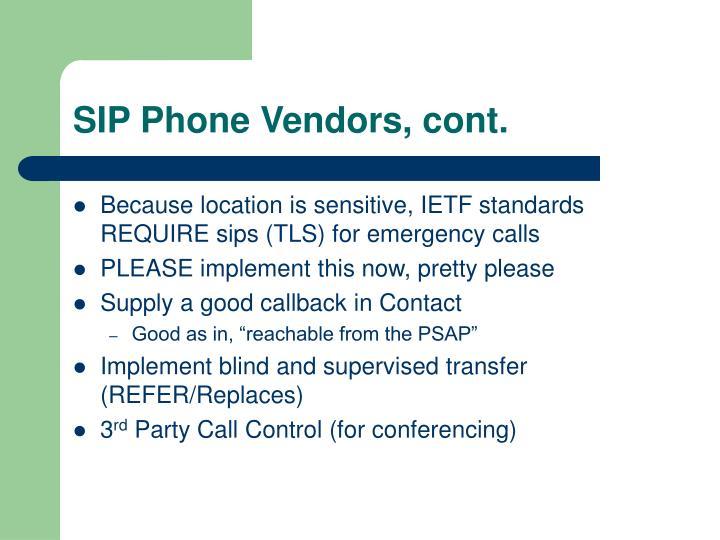 SIP Phone Vendors, cont.