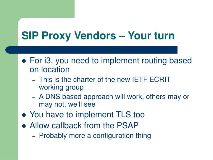 SIP Proxy Vendors – Your turn
